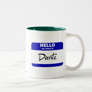 Hello My Name Is Dante (Blue) Two-Tone Coffee Mug