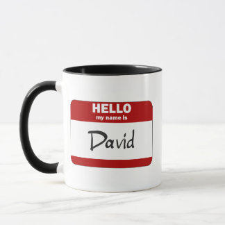 Hello My Name Is David (Red) Mug