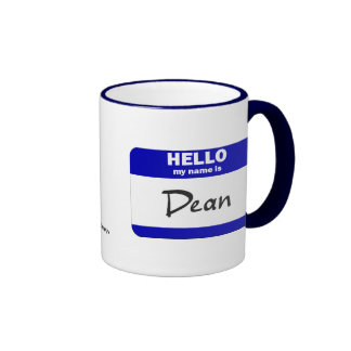 Hello My Name Is Dean (Blue) Ringer Coffee Mug