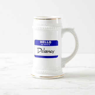 Hello My Name Is Delaney (Blue) Beer Stein