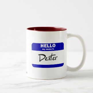 Hello My Name Is Dexter (Blue) Two-Tone Coffee Mug