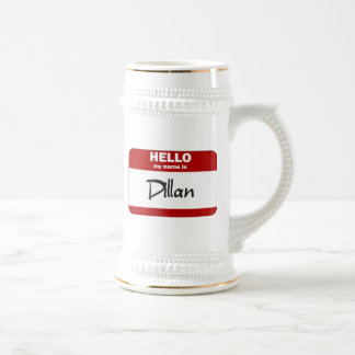 Hello My Name Is Dillan (Red) Beer Stein