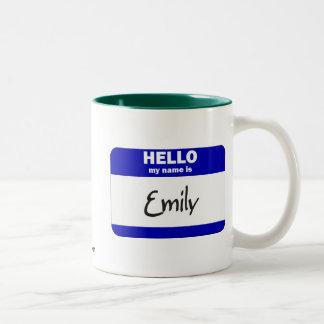 Hello My Name Is Emily (Blue) Two-Tone Coffee Mug