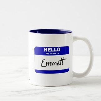 Hello My Name Is Emmett (Blue) Two-Tone Coffee Mug