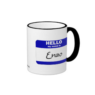 Hello My Name Is Enzo (Blue) Ringer Coffee Mug