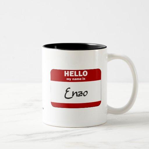 Hello My Name Is Enzo (Red) Two-Tone Coffee Mug