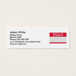 Hello my name is - fill in mini business card