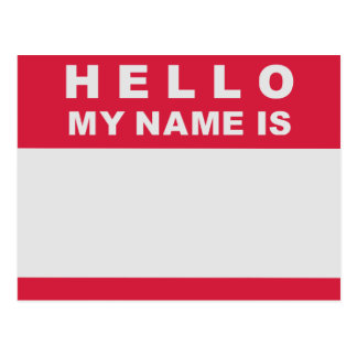 Hello my name is - fill in postcard