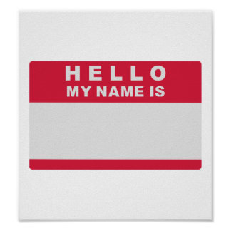 Hello my name is - fill in poster