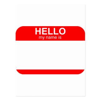 Hello My Name is Flexible Postcard
