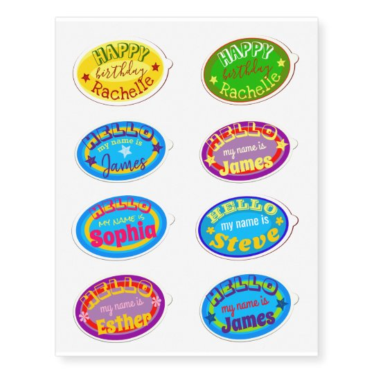 Hello my name is funny and colorful fruit sticker temporary tattoos
