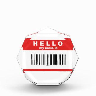 Hello, My Name Is Geek Barcode Acrylic Award
