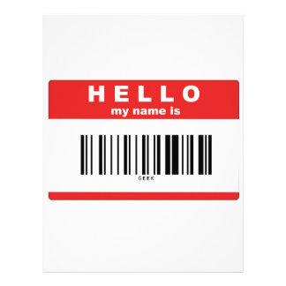 Hello, My Name Is Geek Barcode Letterhead