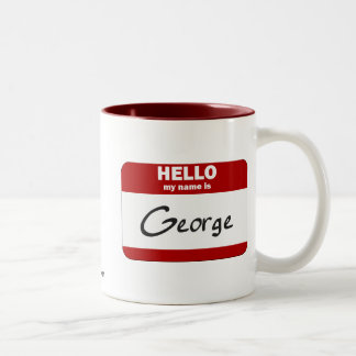 Hello My Name Is George (Red) Two-Tone Coffee Mug