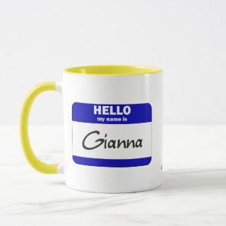 Hello My Name Is Gianna (Blue) Mug