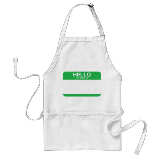 Hello My Name Is - Green Adult Apron