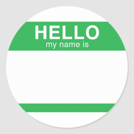 Hello My Name Is - Green Classic Round Sticker
