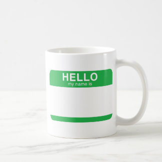 Hello My Name Is - Green Coffee Mug