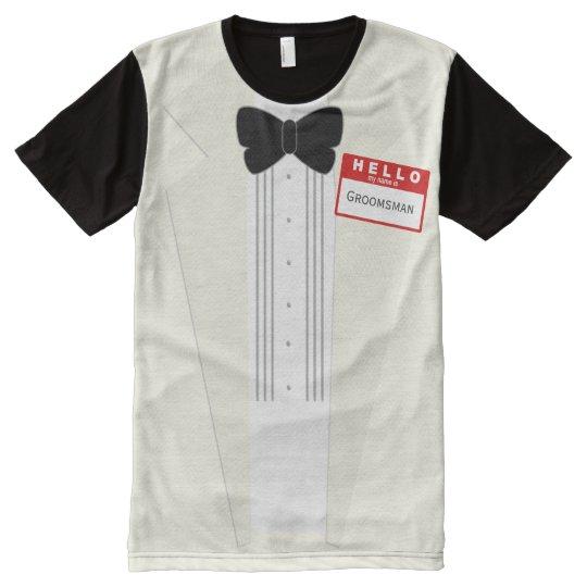 17065952 Hello my name is Groomsman Tuxedo Wedding T-Shirt | Zazzle.com