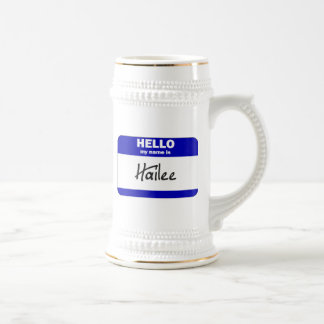 Hello My Name Is Hailee (Blue) Beer Stein