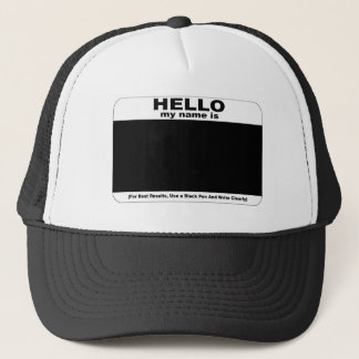 Hello my name is inverse trucker hat