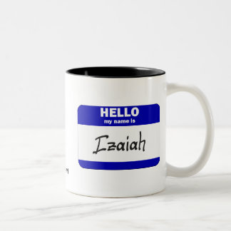 Hello My Name Is Izaiah (Blue) Two-Tone Coffee Mug