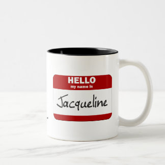 Hello My Name Is Jacqueline (Red) Two-Tone Coffee Mug