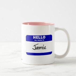 Hello My Name Is Jamie (Blue) Two-Tone Coffee Mug