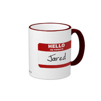 Hello My Name Is Jared (Red) Ringer Coffee Mug