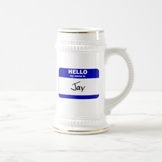 Hello My Name Is Jay (Blue) Beer Stein