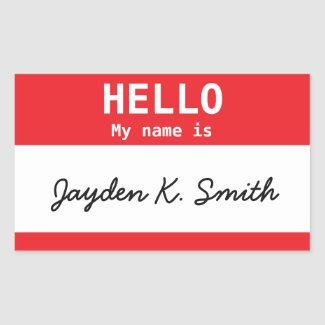 Hello, My name is Jayden K. Smith Spoof Nametag