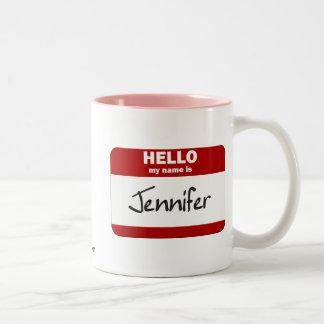 Hello My Name Is Jennifer (Red) Two-Tone Coffee Mug