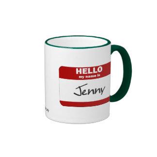 Hello My Name Is Jenny (Red) Ringer Mug