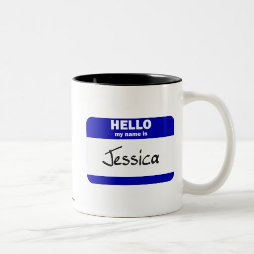 Hello My Name Is Jessica (Blue) Two-Tone Coffee Mug