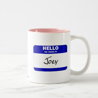 Hello My Name Is Joey (Blue) Two-Tone Coffee Mug