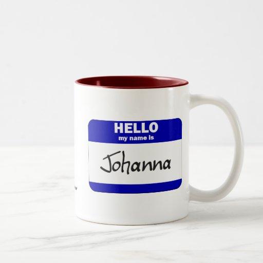 Hello My Name Is Johanna (Blue) Two-Tone Coffee Mug