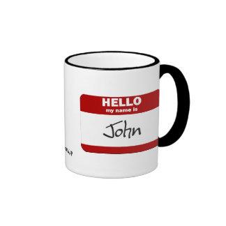 Hello My Name Is John (Red) Mugs