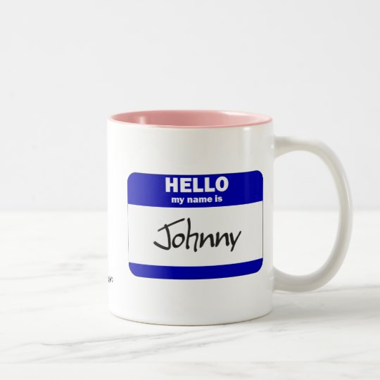 Hello My Name Is Johnny (Blue) Two-Tone Coffee Mug