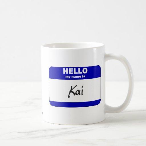 Hello My Name Is Kai (Blue) Classic White Coffee Mug