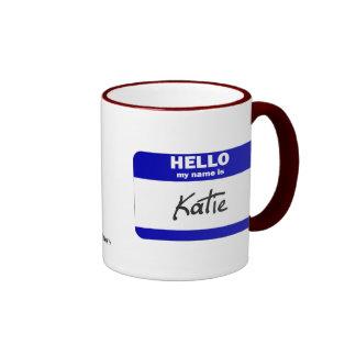 Hello My Name Is Katie (Blue) Ringer Mug