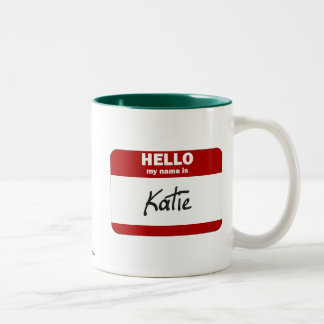 Hello My Name Is Katie (Red) Two-Tone Coffee Mug