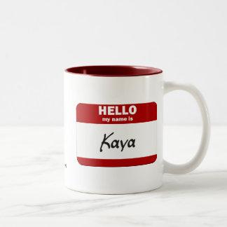 Hello My Name Is Kaya (Red) Two-Tone Coffee Mug