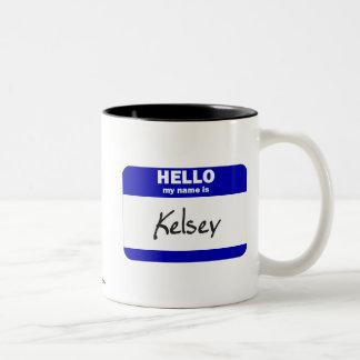 Hello My Name Is Kelsey (Blue) Two-Tone Coffee Mug