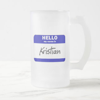 Hello My Name Is Kristian (Blue) Frosted Glass Beer Mug