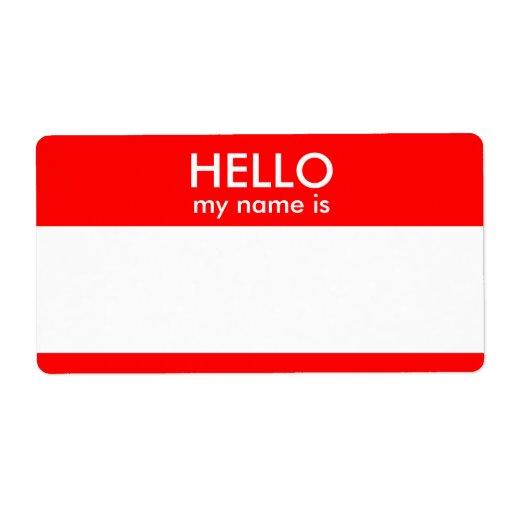 Hello My Name Is Label Zazzle