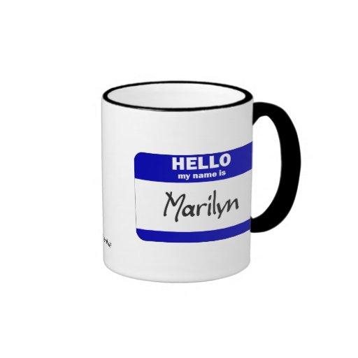 Hello My Name Is Marilyn (Blue) Coffee Mugs