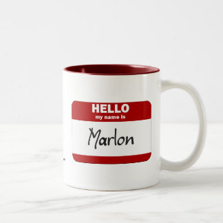 Hello My Name Is Marlon (Red) Two-Tone Coffee Mug
