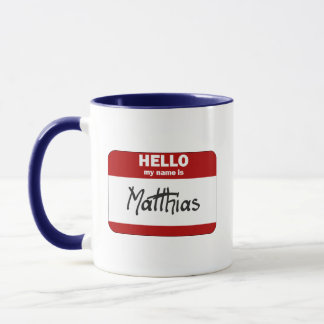 Hello My Name Is Matthias (Red) Mug