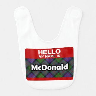Hello My Name is McDonald Scottish Clan Tartan Bib