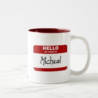 Hello My Name Is Micheal (Red) Two-Tone Coffee Mug